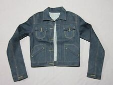 TRUE RELIGION WOMENS RAW DENIM WESTERN SNAKE EYES BUTTON UP JACKET SMALL SAMPLE