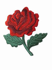 """#3955RL 2-1/2"""" Red Rose Flower Embroidery Iron On Appliqué Patch--Left"""