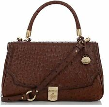 BRAHMIN MARION OSTRICH FLAP BAG BROWN LEATHER HANDBAG SATCHEL RARE PURSE