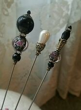 3 Antique Inspired Victorian Hat Pins Vintage Lampwork Beads Clutch Included
