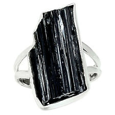 Black Tourmaline Rough 925 Sterling Silver Ring Jewelry s.8.5 BTRR57
