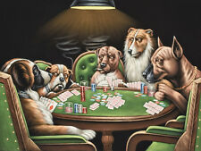 Dogs Playing Poker Vintage Art Silk Poster 24x36inch