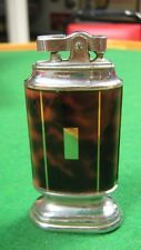 Vtg 1950's Continental Table Lighter Japan Chrome With Brown Marble Overlay