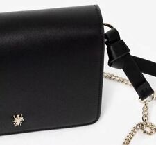 ZARA BLACK METALLIC DETAIL FAUX LEATHER CROSSBODY MESSENGER BEE BUG BAG