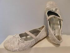 Girl's White Nina Shoes Size 12 With Sequins Slip Ons Great Flower Girl Shoes