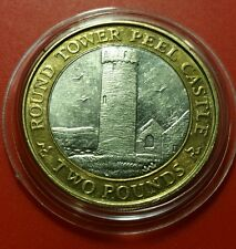 SCARCE IOM Manx £2 Round Tower of Peel Castle 2013 Slightly Circ in Prot Caps