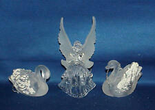 LOT OF 3 ACRYLIC PLASTIC CHRISTMAS ORNAMENTS ANGEL, SWAN'S VERY NICE