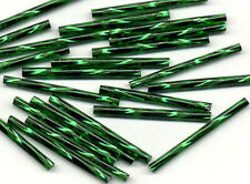 30mm Czech Twisted Dark Green Bugle Glass Beads Jewelry Making Craft 100pcs
