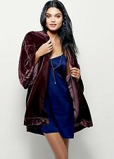 NEW Free People IFP Velvet Belted Robe Jacket Coat purple plum M