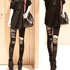 HOT Sexy Black Ripped Torn Slashed Cut Striped Leggings Pants GOTH Club Punk New
