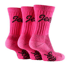 3 Pairs of Luxury Cushion Sole Jeep Terrain Socks 4-7 uk, 37-41 eur CERISE