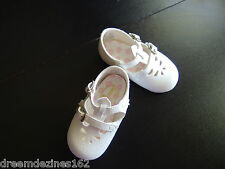 WHITE SIZE 2 BABY SHOES T-STRAP FOR BABY REBORN OR TODDLER DOLL