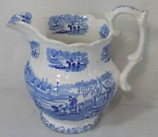 Antique Blue & White Ironstone Transferware Basin Pitcher