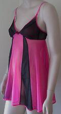 BETSEY JOHNSON Sheer Pink Black Babydoll Chemise Nightie Sz S