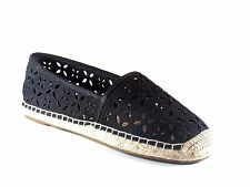 Michael Kors Darci Slip On Black Canvas Perforated Espadrille Flat Shoe Size 8