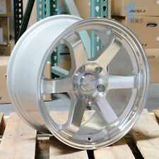 One 18x9.5 AVID1 AV-06 TE37 Style AV06 5x114.3 38 Silver Machined Wheel Rim