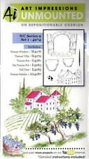 New ART IMPRESSIONS RUBBER STAMP Cling Watercolor series 9  set 1 Tuscan villa
