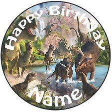 """Personalizzato Compleanno Dinosauri JURASSIC WORLD ROUND 8"""" PRETAGLIATO GLASSA cake topper"""