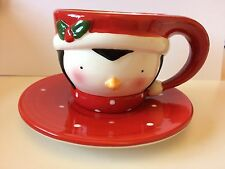 Gorgeous New Red Xmas Penguin Ceramic Cup & Saucer