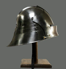 German Sallet Helmet Hand Finish - Wearable +Liner & Chin Strap