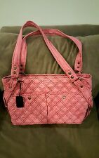 Baby Kaed Large Pink Suede Quilted Diaper Bag with Extras