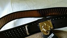 Michael Kors Chocolate Brown Gold Perforated Saffiano Leather Belt Large BNWT