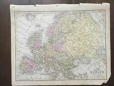 """Hand-Colored Map of Europe  (1855)-""""Mitchell's School Atlas"""""""