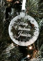 "Personalised engraved Acrylic Tree Decoration ,,MERRY CHRISTMAS "" Bauble 7cm"