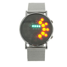 WDS Unsex  Red+Yellow+Green+Blue LED Light Stainless Steel Fashion Wrist Watch