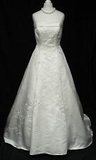 Ivory Embroidered Satin A Line Big Train Beaded Wedding Dress 8-10 R396