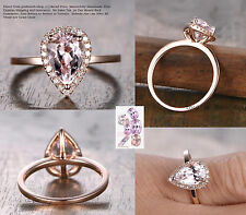 Diamonds Halo 6x9mm Pear Cut Pink Morganite Engagement Ring 14K Rose Gold 6#