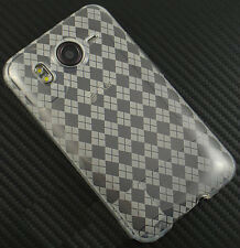 For HTC Inspire 4G Hard TPU FLEXI Candy Skin Snap on Phone Case Clear Plaid