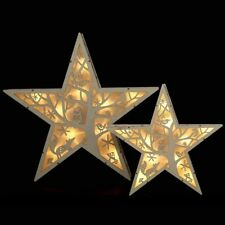 Natural Handcrafted Wooden 36cm Star  for table, window, wall - 10 LED - battery