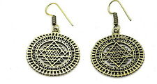 YAPREE HANDMADE INDIA NEPALESE TRIBAL BOHO ETHNIC GOLD TONE SRI YANTRA EARRINGS