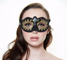 Stylish Black And Gold Glitter Venetian Masquerade Mask Glitter PM005B
