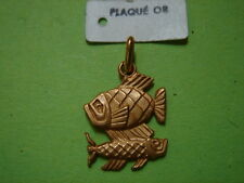 MEDAILLE PLAQUE OR ZODIAQUE POISSON VINTAGE 70 ARGENT NEUF/OLD NEW ZODIAC PISCES