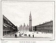 VENEZIA: Piazza San Marco. Regno Lombardo-Veneto. ACCIAIO. Stampa Antica. 1838
