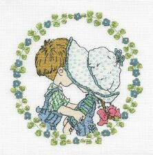 "Sarah Kay ""First Kiss"" Cross Stitch Kit - DMC - 16 Count - 6"" x 6"""