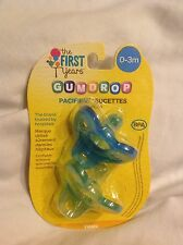 The First Years Gumdrop Pacifers, 2-Pack, Green and Blue, 0-3 Months, BPA Free
