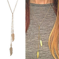 New Women Long Chain Necklace Chic Leaf Feather Tassel Pendant Necklaces WF