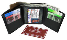 BLACK RFID Security Safe Block Mens Leather ID Plain TRIFOLD ID  WALLET 9+ Card