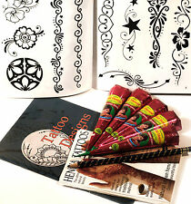 HENNA LARGE TATTOO KIT, 10 PAGE DESIGN BOOKLET etc, UK FREE POST tr