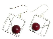 Unique 925 Sterling Silver square frame w/ round Coral Dangle Earrings New