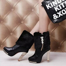 Hot Women's White winter chunky heel rhinestone platform fur top ankle boots