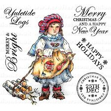 Crafters Companions PAINTBOX POPPETS Unmounted Stamps YULETIDE LOGS PBPS-W-YULE