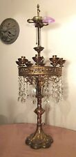huge antique bronze Gothic religious church electric candelabra prism lamp brass