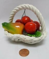Capodimonte Porcelain Fruit Basket w Banana Apple Cherries Made in Italy NICE