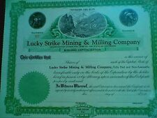 Lucky Strike Mining and Milling Company Stock Certificate