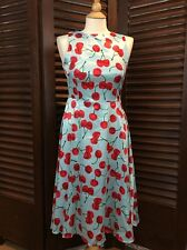 Women's Retro Cherry Print Dress Rockabilly Pin Up Blue & Red Satin Sz Small NWT