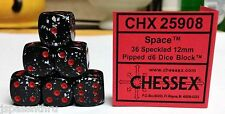 CHESSEX 12mm SPECKLED DICE BACK IN STOCK - SPACE w/RED PIPS! FUN SMALL SIZE!